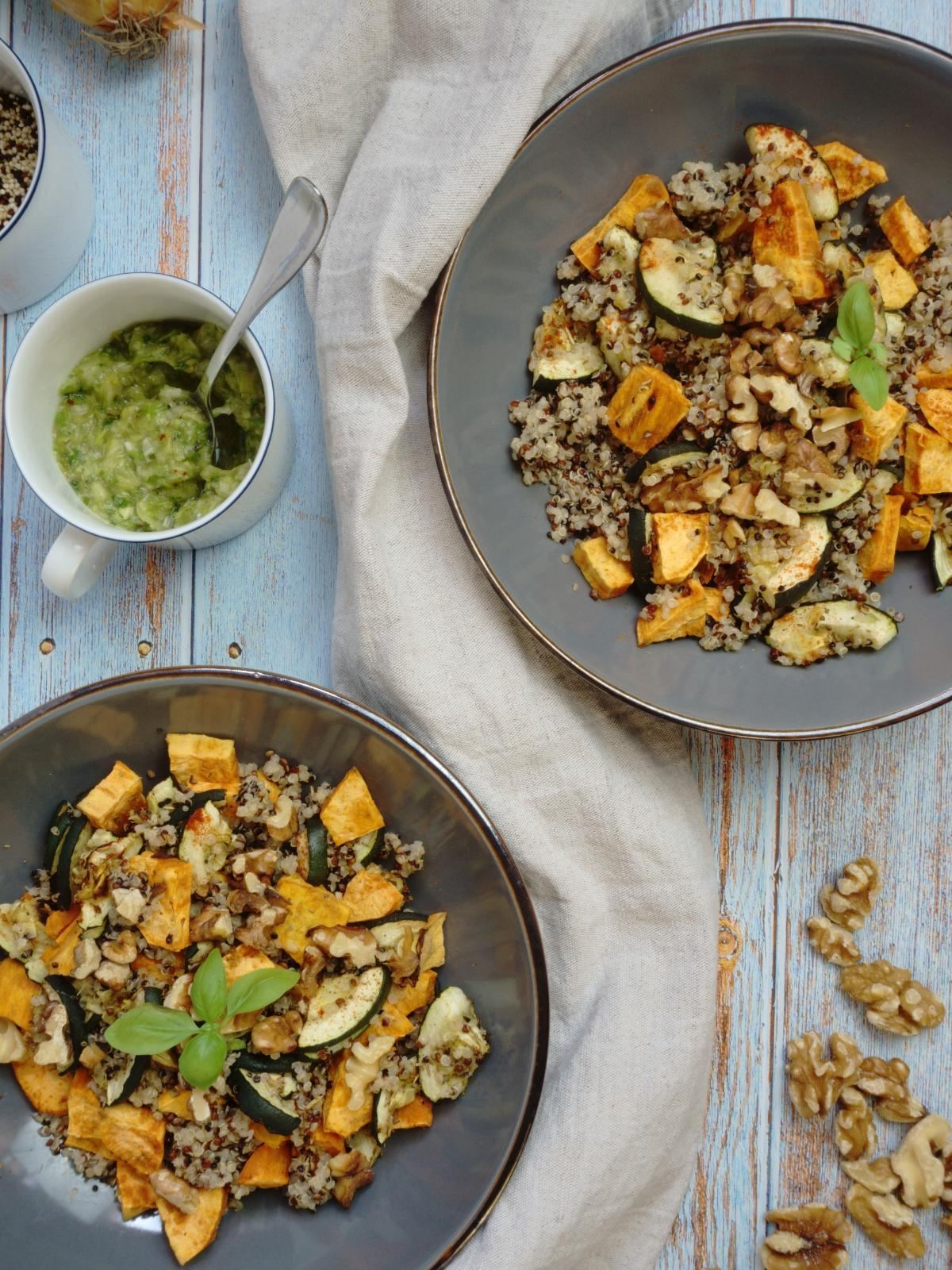 Quinoa Salad With Baked Sweet Potatoes and Zucchini Aerial Perspective