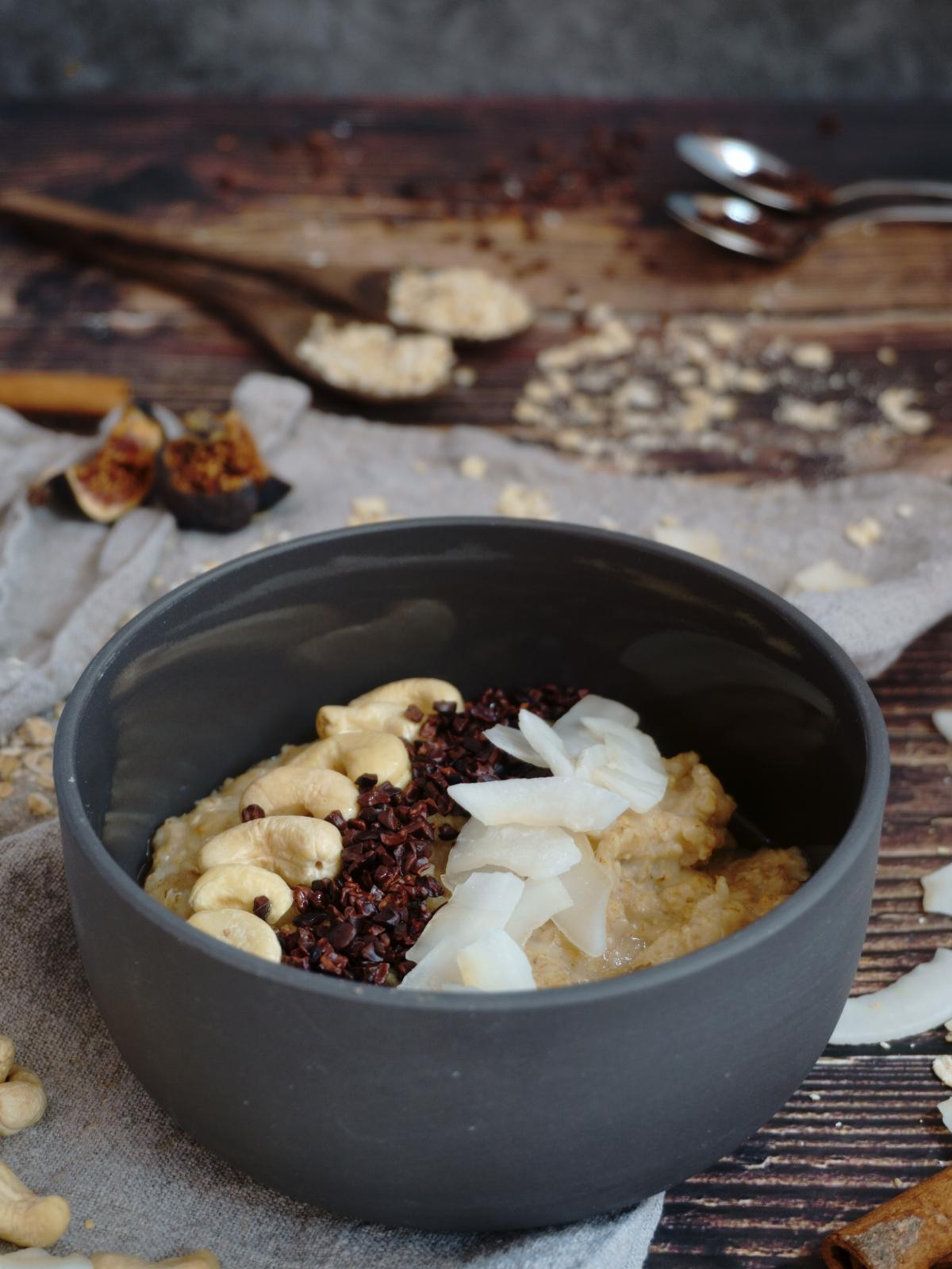 Vegan Coconut Cashew Porridge Front Shot