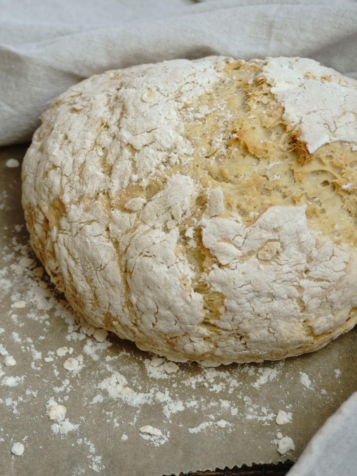 Veganes Dinkel-Sojajoghurt-Brot Frontalaufnahme