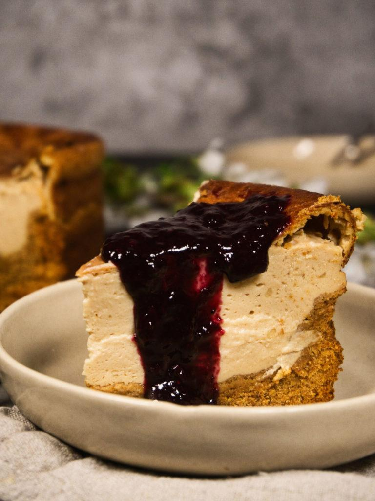 Vegan Cheesecake With Blueberry Sauce